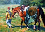 Equine Painting Prints - The Groom Print by Elaine Hurst