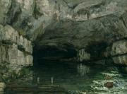 Water In Caves Framed Prints - The Grotto of the Loue Framed Print by Gustave Courbet