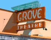 Movie Theater Framed Prints - The Grove Theatre Framed Print by Charlette Miller