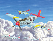 Mustang Aviation Art Paintings - The Gruesome Twosome by James Green