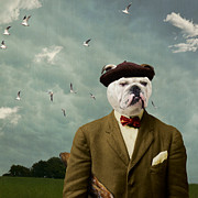 Bulldog Digital Art Posters - The Grumpy Man Poster by Martine Roch