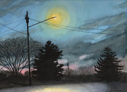 Winter Scenes Drawings Metal Prints - The Guardian Metal Print by Arthur Barnes