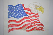 Red White And Blue Drawings - The Guardian by Christina A Pacillo
