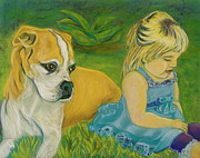 Dog Portraits Pastels Framed Prints - The Guardian Framed Print by D Renee Wilson