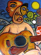 Pi Painting Posters - The Guitar Player Poster by Karl Haglund