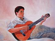 Playing Painting Originals - The Guitarist by Lisa Konkol