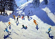 Ski Painting Metal Prints - The Gully Metal Print by Andrew Macara