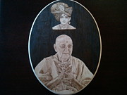 Portrait Pyrography Framed Prints - The Guru Framed Print by Rodney Balderas
