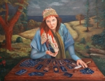 Oil Painting Acrylic Prints - The Gypsy Fortune Teller by Enzie Shahmiri