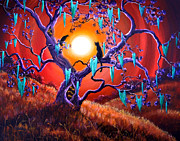 Visionary Art Painting Originals - The Halloween Tree by Laura Iverson
