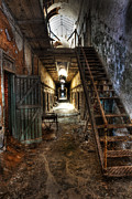 Horror Illustration Prints - The Hallway of Broken Dreams - Eastern State Penitentiary - Lee Dos Santos Print by Lee Dos Santos