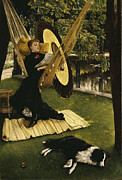 Victorian Woman Framed Prints - The Hammock Framed Print by James Jacques Joseph Tissot