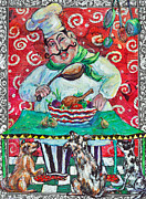 Torn Mixed Media Framed Prints - The Happy Chef Framed Print by Li Newton