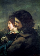 Embracing Framed Prints - The Happy Lovers Framed Print by Gustave Courbet