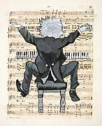 Caricature Framed Prints - The Happy Pianist Framed Print by Paul Helm