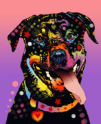 Dog Portrait Paintings - The Happy Rottie by Dean Russo