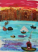 Sail Boats Drawings Posters - The Harbor Evening Poster by Mary Carol Williams