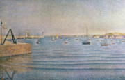 Water Vessels Paintings - The Harbour at Portrieux by Paul Signac