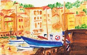 Villefranche Posters - The Harbour at Villefranche Poster by Katherine Shemeld