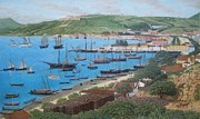 Portugal Art Paintings - The Harbour by Carlos De Vasconcelos Tavares