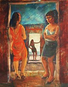 Prostitutes Paintings - The Hard Life by Bill Joseph  Markowski