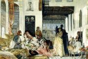 Lewis; John Frederick (1805-76) Painting Metal Prints - The Harem Metal Print by John Frederick Lewis