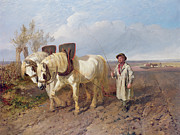 Farm Team Paintings - The Harrowing Team by John Frederick Herring Snr