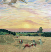 Farm Fields Paintings - The Harvest by Boris Mikhailovich Kustodiev