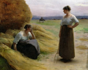 Chatting Painting Metal Prints - The Harvesters Metal Print by Henri Lerolle