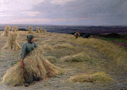 Worker Paintings - The Harvesters Svinklov Viildemosen Jutland by Knud Larsen