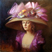 Women Painting Originals - The Hat by Loretta Fasan