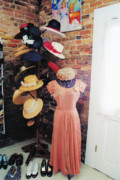 Pink Dresses Prints - The Hat Rack Print by Jan Amiss Photography