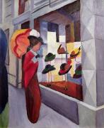 Storefront  Framed Prints - The Hat Shop Framed Print by August Macke