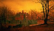 Haunted Metal Prints - The Haunted House Metal Print by John Atkinson Grimshaw