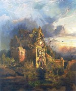 Frightening Posters - The Haunted House Poster by Thomas Moran