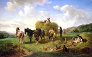 Seasonal Painting Prints - The Hay Harvest Print by Hermann Kauffmann