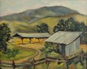 Split Rail Fence Painting Prints - The Hay that Made the Valley Famous Print by Zanobia Shalks