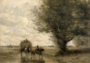Livestock Paintings - The Haycart by Jean Baptiste Camille Corot
