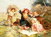 Straw Metal Prints - The Haymakers Metal Print by Frederick Morgan
