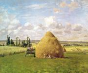 Carts Framed Prints - The Haystack Framed Print by Camille Pissarro