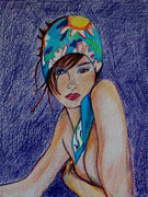 Head Shot Drawings - The Headscarf  by Anna Mize Bell