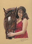 Equine Pastels Posters - The Heart Horse Poster by Terry Kirkland Cook