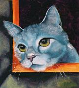 Cats Drawings Originals - The Heart is a Lonely Hunter by Susan A Becker