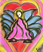 Religious Pastels Framed Prints - The Heart of an Angel Framed Print by Stacy and Art with a Heart In Healthcare