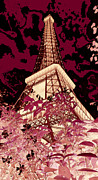 Eiffel Tower Mixed Media Metal Prints - The Heart of Paris - Digital Painting Metal Print by Carol Groenen