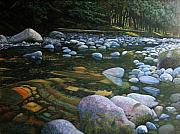 Waterscape Painting Prints - The Heart of Quartz Creek Print by Ron Smothers