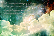 Bible Verse Framed Prints - The Heavens Declare Framed Print by Stephanie Frey