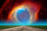 Composite Photographs Framed Prints - The Helix Nebula Road Framed Print by Larry Landolfi
