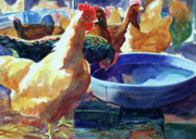 Chickens Paintings - The Henhouse Watering Hole by Kathy Braud