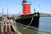 Alcatraz Island Prints - The Hercules . A 1907 Steam Tug Boat At The Hyde Street Pier in San Francisco California . 7D14137 Print by Wingsdomain Art and Photography